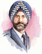 In England tragen Sikh-Polizisten Turban, Aquarell von R.M. Singh
