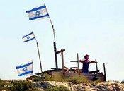 Israelische Flaggen markieren die Gründung einer Siedlung; Foto: AP