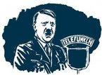Hitler bei einer Radioansprache. Illustration Raimo Bergt