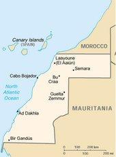 Landkarte der Westsahara, CIA World Fact Book 2002/DW