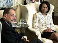 Javier Solana (l.) und Condoleezza Rice bei einem Treffen im Außenministerium in Washington am 10. Mai 2006; Foto: AP