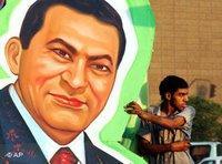 Plakat von Hosni Mubarak in Kairo; Foto: AP
