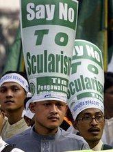Demonstration für die Einführung des anti-Pornographie Gesetzes in Indonesien; Foto: AP