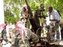 Islamistische Milizen vor der Einnahme Mogadischus durch die äthiopische Armee; Foto: AP