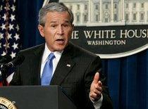 US-Präsident Bush während einer Pressekonferenz im Weißen Haus; Foto: AP