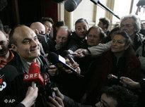 Chefredakteur Philippe Val nach dem Freispruch durch ein Pariser Gericht am 22. März 2007