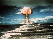 Französischer Atomwaffentest auf dem Mururoa-Atoll im Jahr 1971; Foto: dpa