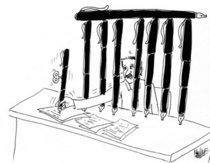 Karikatur aus Marokko gegen die Zensur