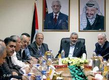 Ismail Haniyeh of Hamas trifft lokale Vertreter der Hamas und Fatah in Gaza-Stadt; Foto: AP