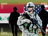 Symbolbild US-Soldat vor irakischer Flagge; Foto: AP