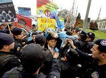 Uiguren fordern in Istanbul einen Olympiaboykott; Foto: dpa