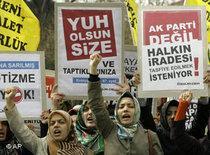 Konservative türkische Frauen protestieren gegen Staatsanwaltschaft; Foto: AP