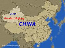 Karte China mit der Provinz Xinjiang; Foto: AP / DW Montage