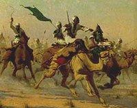 Mahdisten in der Schlacht von Omdurman im Jahr 1898, historisches Gemälde von Robert Kelly; Foto: Wikimedia Commons