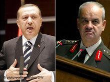 Recep Tayyip Erdogan und der türkische Generalstabschef Ilker Basbug; Foto: picture alliance/dpa/DW
