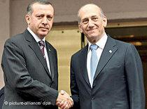 Turkish Prime Minister Erdogan with the Israeli Premier Olmert (photo: dpa)