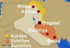 Karte des Irak; Foto: DW/AP