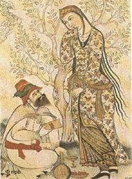 Ibn Sina empfängt auf einer mittelalterlichen Darstellung sein Wissen durch die Muse; Foto: DW