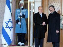 Israels Präsident Shimon Peres beim türkischen Präsidenten Abdullah Gül in Ankara; Foto: AP