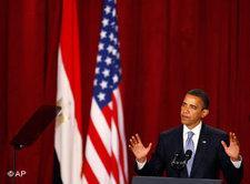 US-Präsident Obama während seiner Kairo-Rede; Foto: AP