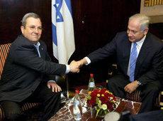 Benjamin Netanjahu rechts und Ehud Barak in Jerusalem; Foto: dpa