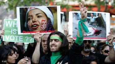 Frankreichs Exil-Iraner demonstrieren gegen das Regime in Paris; Foto: AP