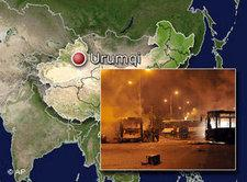 Karte der Unruhe-Provinz Xinjiang; AP/Fotomontage