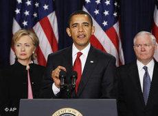 US-Präsident Obama stellt am 27. März 2009 seine neue Strategie für Afghanistan und Pakistan in Washinton vor; Foto: AP