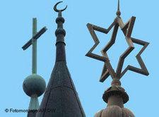 Symbolbild Religionen: Kirche, Moschee, Synagoge, Foto: DW