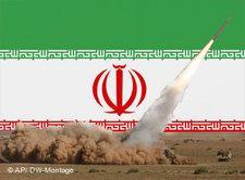 Fotomontage Raketenprogramm und iranische Nationalfahne; Foto: AP/DW