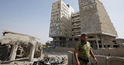 Bombardierte Gebäude vor dem irakischen Finanzministerium; Foto: AP