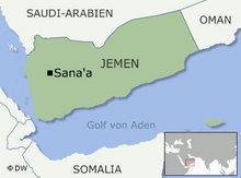 Karte des Jemen mit den Nachbarländern Saudi Arabien Oman Somalia und dem Golf von Aden; Foto: DW