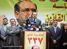 Iraks Ministerpräsident Nouri al-Maliki bei einer Wahlkampfrede; Foto: dpa
