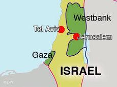 Karte Israels und der palästinensischen Autonomiegebiete; Foto: DW