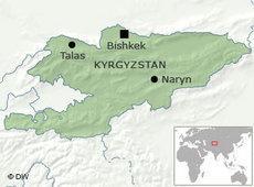Karte Kirgisistan mit den Städten Bischkek, Talas und Naryn; Foto: DW