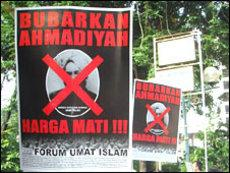 Demonstration religiöser Hardliner gegen die Ahmadiya in Indonesien; Foto: AP