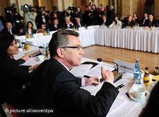 Bundesinnenminister Thomas de Maiziere auf der Islamkonferenz; Foto: dpa