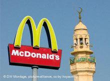 McDonald's Logo und Minarett; Foto: DW/dpa