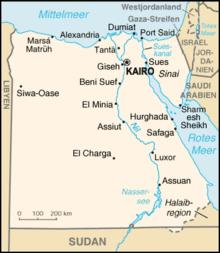 Karte von Ägypten; Quelle: Wikipedia Commons