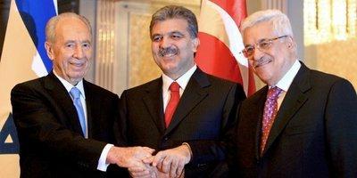 Türkischer Präsident Abdullah Gül, Palästinenserpräsident Abbas und israelischer Präsident Schimon Peres; Foto: dpa