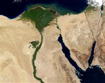 Satellitenbild vom Nil-Delta; Foto: Wikipedia Commons