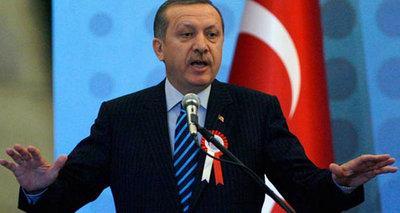 Türkischer Premierminister Erdogan bei einer Rede; Foto: AP