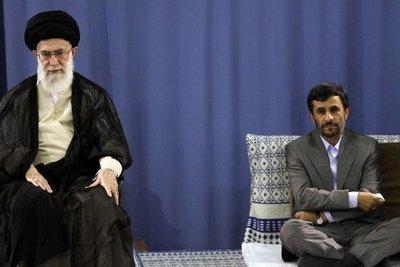 Ayatollah Chamenei und Präsident Ahmadinejad; Foto: AP