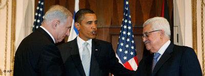 US-Präsident Obama mit Mahmud Abbas und Benjamin Netanjahu; Foto: AP