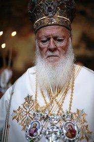 Patriarch Bartholomäus I. während der Zeremonie in Sumela; Foto: Iason Athanasiadis