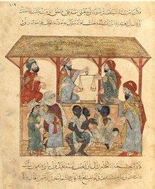 Jemenitischer Sklavenmarkt im 13. Jahrhundert, irakische Miniaturmalerei; Foto: Wikimedia Commons