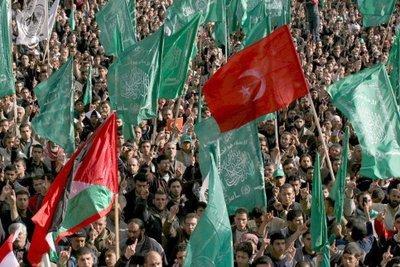 Türkei-Flaggen auf einer Pro-Hamas Demonstration in Gaza; Foto: dpa
