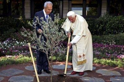 Papst Benedikt XVI. pflanzt zusammen mit Schimon Peres einen Baum; Foto: dpa