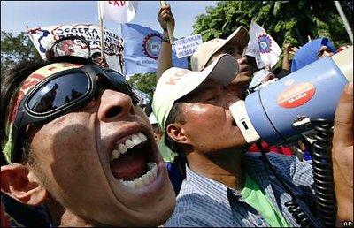 Protestkundgebung gegen die Regierung in Jakarta; Foto: AP