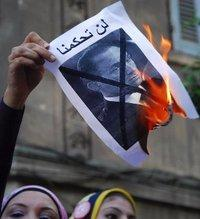 Proteste gegen Mubarak; Foto: AP